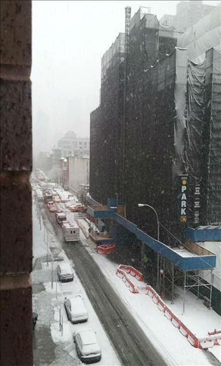 Snow on West 44th Street in New York City on February 3, 2014. <span class=meta>(WABC Photo)</span>