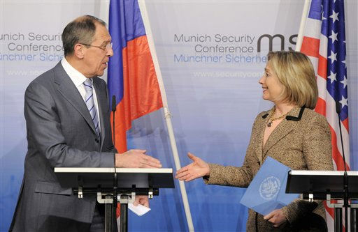 US Secretary of State Hillary Rodham Clinton, and Russia&#39;s Foreign Minister Sergey Lavrov shake hands after finalizing the New START treaty during the Conference on Security Policy in Munich, Germany, Saturday, Feb. 5, 2011. &#40;AP Photo&#47;Jens Meyer&#41; <span class=meta>(AP Photo&#47; Jens Meyer)</span>