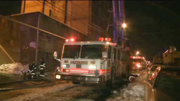 A large fire burned through a warehouse in Paterson, New Jersey on Wednesday night. <span class=meta>(WABC Photo&#47; WABC)</span>