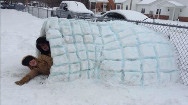 Dillion and Scott's snow igloo