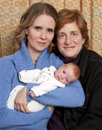 In this photo taken by Brian Ach and released by ID-PR, actress Cynthia Nixon, left, and Christine Marinoni pose with their son Max on Friday, Feb. 11, 2011 in New York. Max was born on Feb. 7. &#40;AP Photo&#47;ID-PR, Brian Ach&#41; <span class=meta>(AP Photo&#47; Brian Ach)</span>