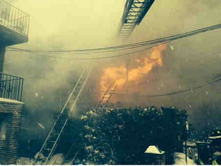 Over 100 firefighters battled a blaze in a residential building in the Eastchester Bay section of the Bronx. <span class=meta>(FDNY)</span>