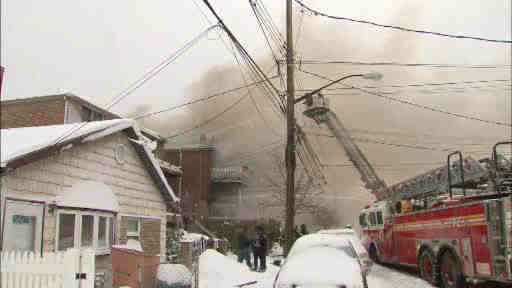 Over 100 firefighters battled a blaze in a residential building in the Eastchester Bay section of the Bronx.