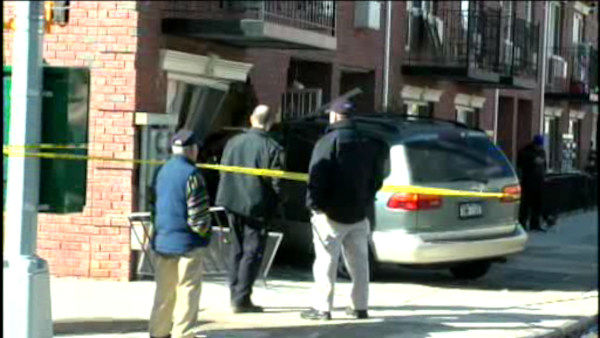 Police are looking for the driver of a minivan who crashed into a house in Queens.  <span class=meta>(WABC Photo)</span>