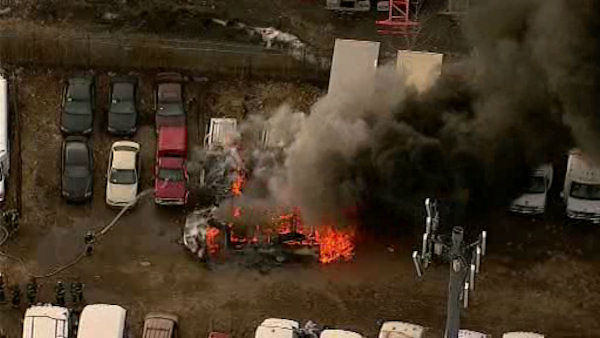 Several vehicles were burning in an industrial area off Tonnelle Avenue in North Bergen, New Jersey.  <span class=meta>(WABC Photo&#47; WABC)</span>