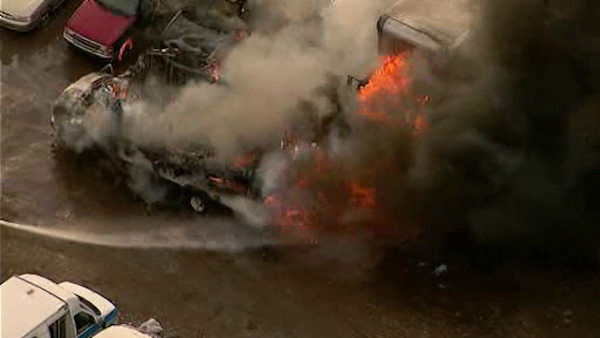 "<div class=""meta ""><span class=""caption-text "">Several vehicles were burning in an industrial area off Tonnelle Avenue in North Bergen, New Jersey.  (WABC Photo/ WABC)</span></div>"