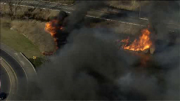 A large brush fire burned along the New Jersey Turnpike Tuesday afternoon in Kearny, New Jersey. <span class=meta>(WABC Photo)</span>