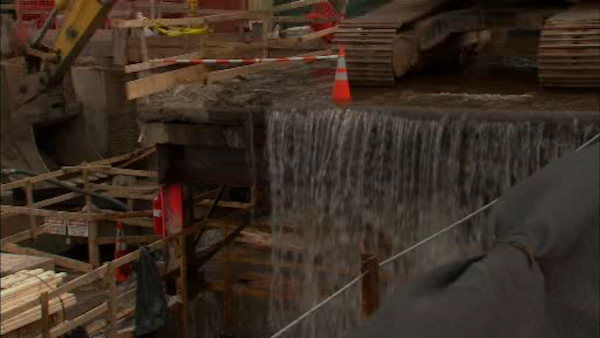 See images of a two different water main breaks that washed out several streets and basements in Hoboken. <span class=meta>(WABC Photo)</span>