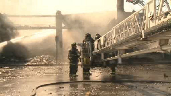 A pool supply company went up in flames Monday afternoon at a strip mall in Seaford, Long Island.