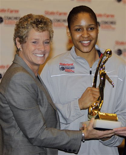 Connecticut&#39;s Maya Moore, right, is presented the Women&#39;s Basketball Coaches Association&#39;s Wade Trophy for national player of the year by Beth Bass, CEO of the WBCA, during events before the NCAA Women&#39;s Final Four college basketball games in Indianapolis, Saturday, April 2, 2011.  &#40;AP Photo&#47;Mark Duncan&#41; <span class=meta>(AP Photo&#47; Mark Duncan)</span>