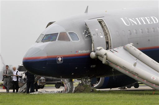 The front landing gear of a United Airlines airplane is seen sunk in a grass field after making an emergency landing shortly after takeoff at Louis Armstrong International Airport in Kenner, La., Monday, April 4, 2011.  The flight from New Orleans to San Francisco returned to the New Orleans airport within minutes of taking off Monday after rocking back and forth. &#40;AP Photo&#47;Patrick Semansky&#41; <span class=meta>(AP Photo&#47; Patrick Semansky)</span>