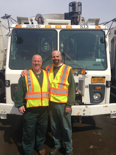 Sanitation Workers Jay Visone and August Cocuzza, assigned to Staten Island District 3, saved lives by knocking on doors, ringing door bells, and alerting local residents.