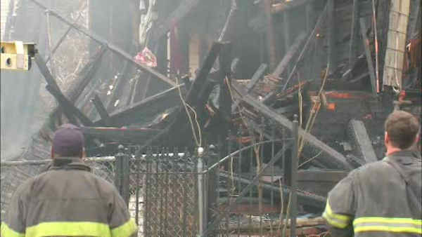 Three homes were destroyed and a fourth was damaged in a fire that broke out early Sunday morning in Newark.