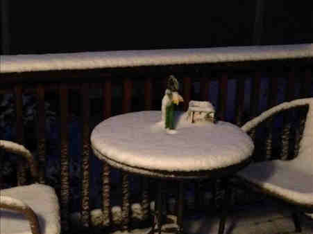 Betsy from Brewster, NY sent in this photo of her patio furniture covered in snow.