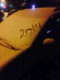 An Eyewitness News viewer from Brooklyn sent in this photo of a car dusted with snow with the year 2014 on it.
