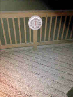 An Eyewitness News viewer sent in this photo of their deck Wednesday morning with a dusting of snow and 30 degree temp reading.