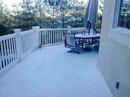 An Eyewitness News viewer sent in this photo of their snow covered deck in Northern New Jersey.