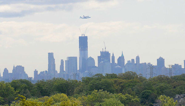 Carol Jones took this picture from Nutley, New Jersey of the Shuttle Enterprise arriving in New York City on Friday, April 27, 2012.