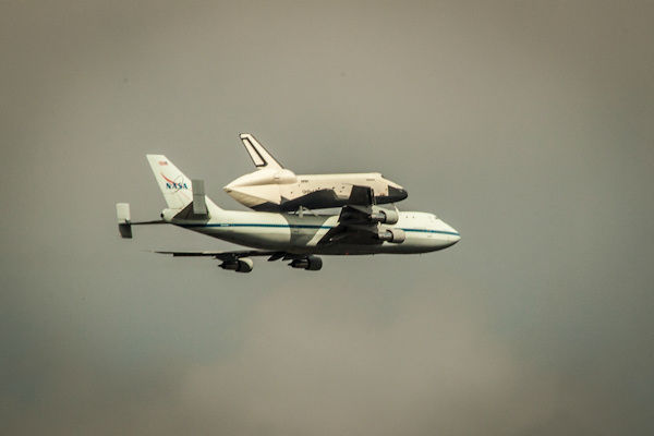 Eyewitness News viewer photo of the Shuttle Enterprise  over Battery Park as it arrived in New York City on Friday, April 27, 2012.