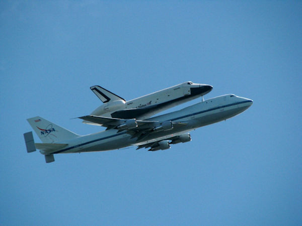 Bryan Ahl took this photo as the Enterprise flew over Ft. Wadsworth, Staten Island.