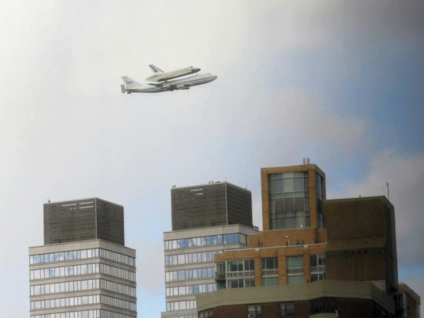 Jose A Figueroa took this photo of the Shuttle Enterprise arriving in New York City on Friday, April 27, 2012.