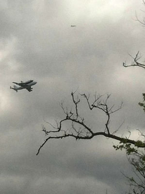 Deborah Sorrentino took this picture of the Shuttle Enterprise flying over Staten Island.