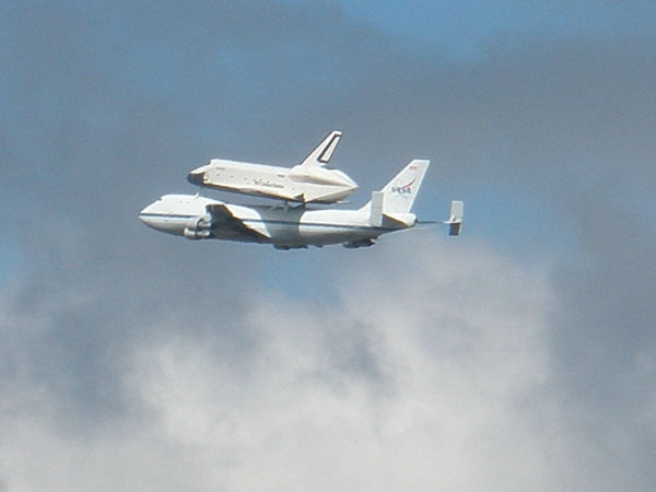 Eyewitness News viewer photo of the Shuttle Enterprise flying over Jersey City, New Jersey.