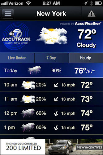 "<div class=""meta ""><span class=""caption-text "">In addition to radar, the home screen includes current conditions for your location, the 7-day forecast and hourly forecast.  Just click on the tab that you want to see.  If there's an alert, you will see an icon in the upper right-hand corner.   Just click on the icon to bring up the alert. </span></div>"
