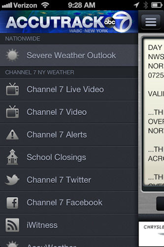 "<div class=""meta ""><span class=""caption-text "">Not only can you see what's coming, AccuTrack Weather Alert app will alert you when severe weather is coming no matter where you are.   Click on the menu icon in the upper left to begin the process of setting up severe weather alerts that you want for wherever you go - with the voices of Eyewitness News AccuWeather meteorologists Lee Goldberg and Bill Evans. </span></div>"