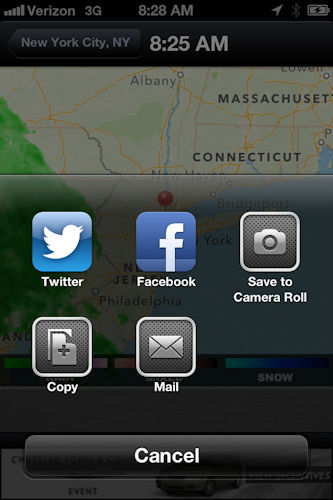 "<div class=""meta ""><span class=""caption-text "">Another great feature is you can share just about everything to Facebook, Twitter or by email.  On the radar, for instance, just click on the share icon on the lower bar and choose where you want to share so you can alert loved ones when you see bad weather coming!    </span></div>"
