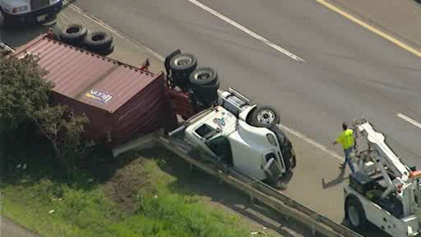 There's an Accident and an Overturned tractor trailer on the New Jersey Turnpike/I-80 northbound South of I-80 Express & Local Lanes in Ridgefield.