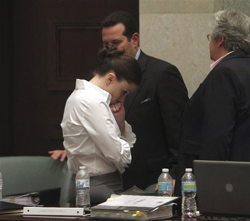 "<div class=""meta ""><span class=""caption-text "">Casey Anthony is shown during a break in court during her murder trial at the Orange County Courthouse, Monday, June 27, 2011 in Orlando, Fla. Anthony, 25, is charged with killing her daughter Caylee in the summer of 2008. (AP Photo/Red Huber, Pool) (AP Photo/ Red Huber)</span></div>"