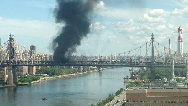 FDNY responded to a smokey truck fire that shut down the Queensboro Bridge on August 16, 2013
