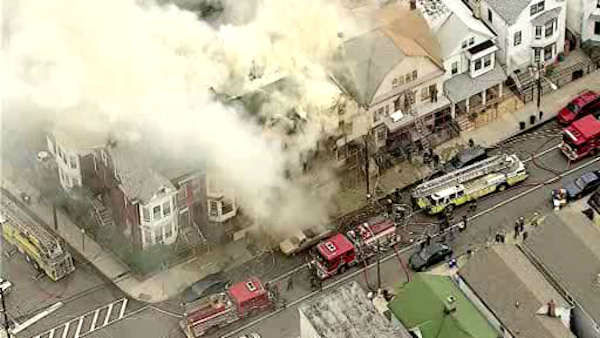 Newscopter7 was over a huge fire in an unoccupied building on Garside Street in Newark, New Jersey