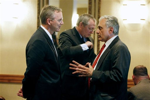 New York Republican gubernatorial candidate Carl Paladino, right, and his lieutenant governor running mate Greg Edwards, in Colonie, N.Y., Wednesday, Sept. 29, 2010.  At center is campaign manager Michael Caputo.  &#40;AP Photo&#47;Mike Groll&#41; <span class=meta>(AP Photo&#47; Mike Groll)</span>