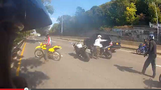 "<div class=""meta ""><span class=""caption-text "">A confrontation between a driver of an SUV and a pack of motorcycles on the Upper West Side in New York City was caught on tape. (Photo/YouTube (Michelinman900))</span></div>"