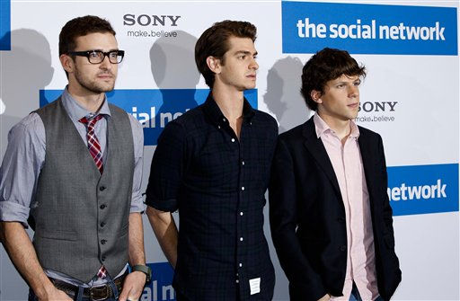 U.S. actors Justin Timberlake, Andrew Garfield and Jesse Eisenberg, from left, pose for media during a photo-call to promote the movie &#34;The Social Network&#39; in Berlin, Germany, Tuesday, Oct. 5, 2010. The movie will launch in Germany on Thursday, Oct. 7, 2010. &#40;AP Photo&#47;Markus Schreiber&#41; <span class=meta>(AP Photo&#47; Markus Schreiber)</span>