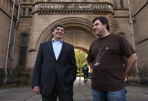 "<div class=""meta image-caption""><div class=""origin-logo origin-image ""><span></span></div><span class=""caption-text"">Professor Andre Geim, left, and Dr Konstantin Novoselov who have have been awarded the Nobel Prize for Physics are seen outside Manchester University, Manchester, England, Tuesday, Oct, 5, 2010. The  scientists shared the Nobel Prize in physics on Tuesday for ""groundbreaking experiments"" with the thinnest, strongest material known to mankind  a carbon vital for the creation of faster computers and transparent touch screens. (AP Photo/Jon Super). (AP Photo/ JON SUPER)</span></div>"
