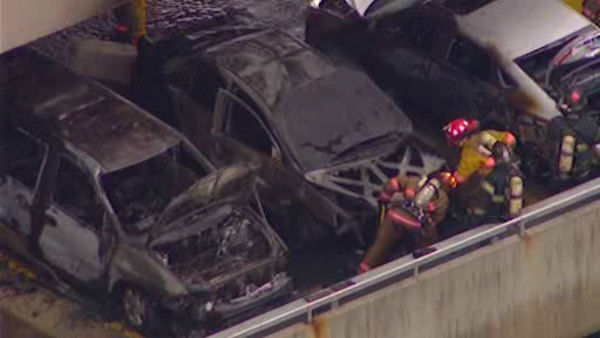 Newscopter 7 was over the scene at the Samsung office building in Ridgefield Park, New Jersey where three cars caught fire
