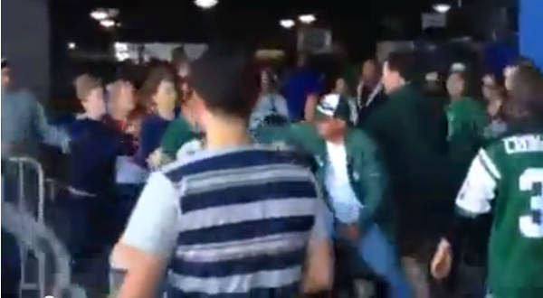 "<div class=""meta ""><span class=""caption-text "">A video posted to Youtube shows a fight between what appears to be both Jets and Patriots fans just after the game. (Robert Littal / Blacksportsonline.com)</span></div>"