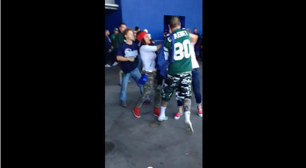"<div class=""meta ""><span class=""caption-text "">Football fandom turned violent Sunday as a fight broke out as fans left MetLife Stadium. A video posted to Youtube shows a fight between what appears to be both Jets and Patriots fans just after the game. (Photo/Abby Wittman)</span></div>"