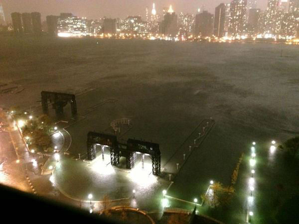 East River overflowing in Long Island City, Queens.