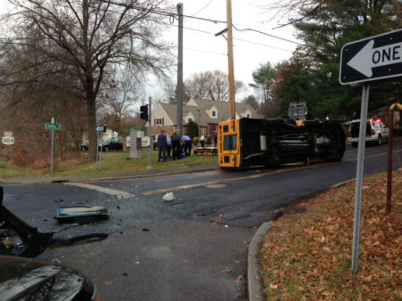 Six students were all transported to the hospital with minor injuries after their school bus was involved in an accident in New City, Rockland County.