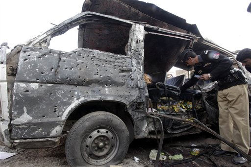 "<div class=""meta ""><span class=""caption-text "">Pakistani security officials examine the  vehicle targeted by a suicide attacker in Kohat, 60 kilometers (37 miles) south of Peshawar, Pakistan Wednesday, Dec. 8, 2010. A suicide bomber blew himself up killing many people and wounding others. The blast took place close to Pakistan's border regions with Afghanistan, where Islamist militants are strong.The target of the attack in Kohat city was unclear, though insurgents have exploded bombs in public places before, presumably to spread terror and undermine confidence in the government. (AP Photo/Mohammad Sajjad) (AP Photo/ Mohammad Sajjad)</span></div>"