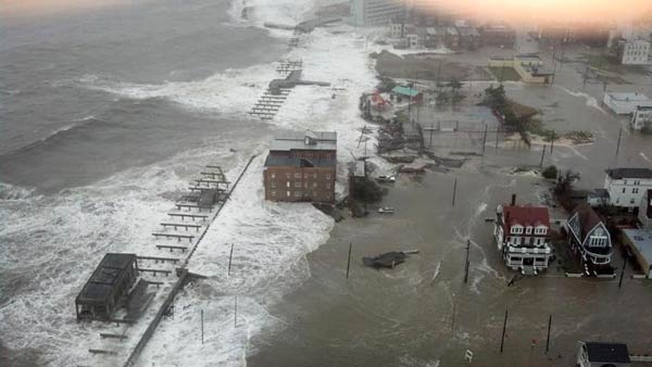 This photo provided by 6abc Action News shows the Inlet section of Atlantic City, N.J., as Hurricane Sandy makes it approach, Monday Oct. 29, 2012. Sandy made landfall at 8 p.m. near Atlantic City, which was already mostly under water and saw a piece of its world-famous Boardwalk washed away earlier in the day. <span class=meta>(6ABC Action News &#47; Dann Cuellar)</span>