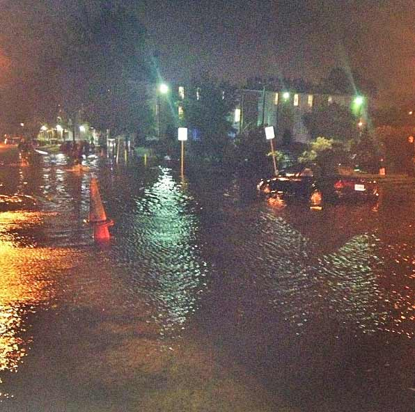 "<div class=""meta ""><span class=""caption-text "">Streets are flooded at Old Dominion University in Norfolk, Va. on Sunday, Oct. 28, 2012. (Instagram/Ashley Adams)</span></div>"