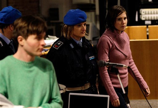 "<div class=""meta ""><span class=""caption-text "">Convicted U.S. student Amanda Knox, right, walks past  Raffaele Sollecito, as she arrives after a break to attend a hearing in her appeals trial, at Perugia's courthouse, Italy, Saturday, Dec. 18, 2010. An Italian court hearing the appeals murder trial of Amanda Knox was deliberating Saturday whether to allow new witnesses and an independent review of evidence _ a crucial decision for the defense of the American student convicted of killing her British roommate. Her co-defendant and ex-boyfriend, Sollecito of Italy, was convicted of the same charges and sentenced to 25 years.  (AP Photo/Alessandra Tarantino) (AP Photo/ Alessandra Tarantino)</span></div>"