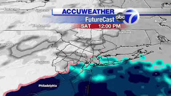 AccuWeather maps predict how much snow will hit the New York area on Saturday.