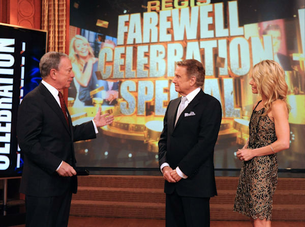 Mayor Michael Bloomberg presents Regis Philbin with a key to New York City on &#34;Live! with Regis and Kelly,&#34; Friday, Nov. 18, 2011 in New York. Friday is Philbin&#39;s last day on the popular morning show.  <span class=meta>(Disney-ABC Domestic Television, David Russell)</span>