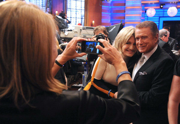 Regis Philbin poses with World News anchor Diane Sawyer after his final appearance on &#34;Live! with Regis and Kelly,&#34; Friday, Nov. 18, 2011 in New York.  <span class=meta>(Disney-ABC Domestic Television, David Russell)</span>